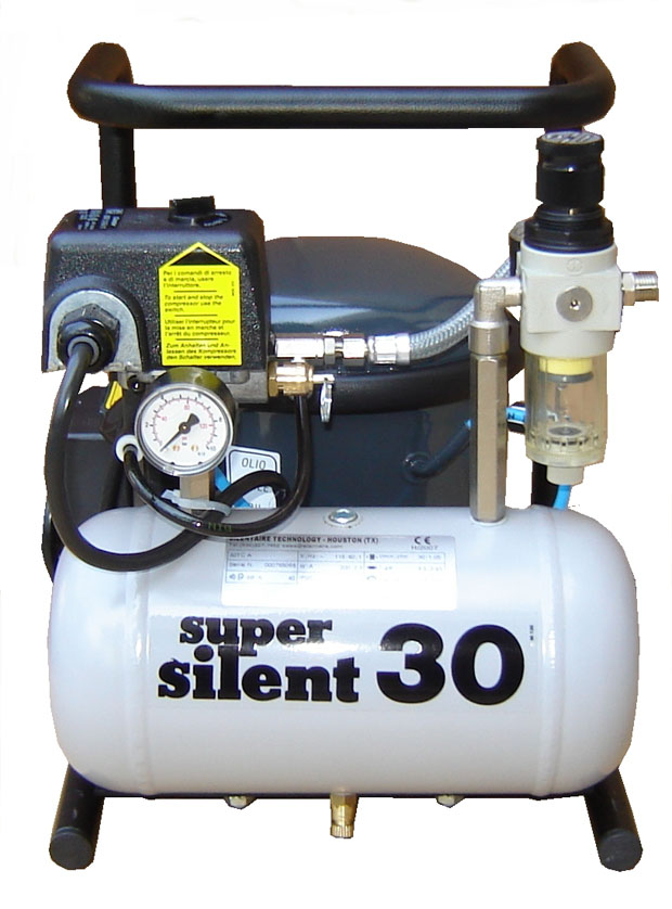 Silentaire Super Silent 30-TC Silent Running Airbrush Compressor, Portable Air Compressor
