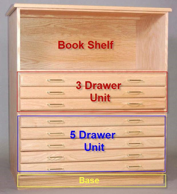 "SMI Bookshelf for 24"" x 36\"" Oak Plan File"