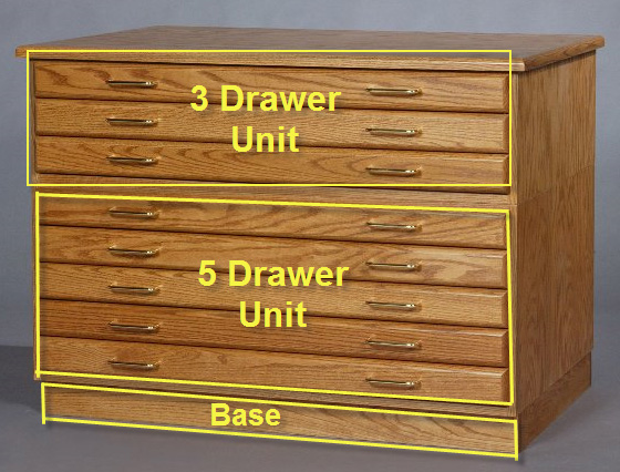SMI Medium Oak Steel Drawer Guide Flat File Flush Base