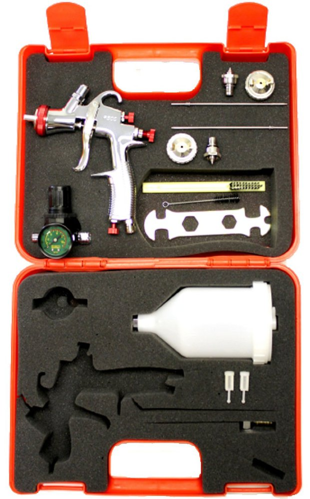 SPRAYIT SP-33000K LVLP Gravity Feed Spray Tool Kit with 1.3, 1.5, 1.7mm Needles, Air Regulator & Plastic Case