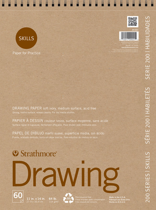 "Strathmore 200 Series Skills 11"" x 14"" Wire Bound Drawing Pad"
