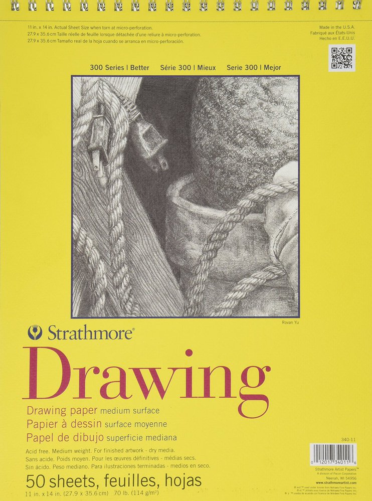 "Strathmore 300 Series Drawing Paper: 11"" x 14"", Glue Bound with Flip Over Cover, Pad of 50 Sheets"