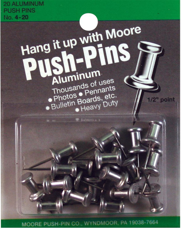 "Moore 1/2"" Push-Pins 20-Pack: 1/2"""