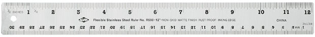 Alvin Flexible Stainless Steel Ruler: 12 Inch