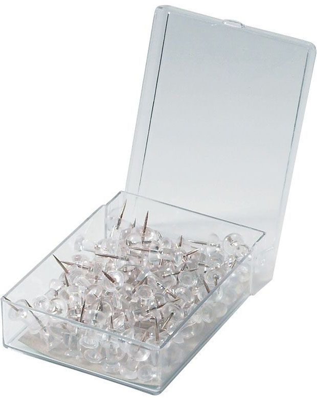 Alvin® Push Pins: Clear Box Of 100