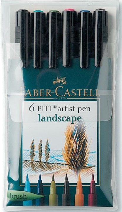 Faber-Castell Pitt Artist Brush Pen: 6 Land Scape Colors