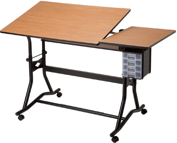 "Alvin® CraftMaster™ III Split-Top Drafting Drawing and Art Table Black Base Cherry Woodgrain Top: 0 - 30, Black/Gray, Steel, 35"" - 39 1/2"", Brown, Wood, 30"" x 60"""