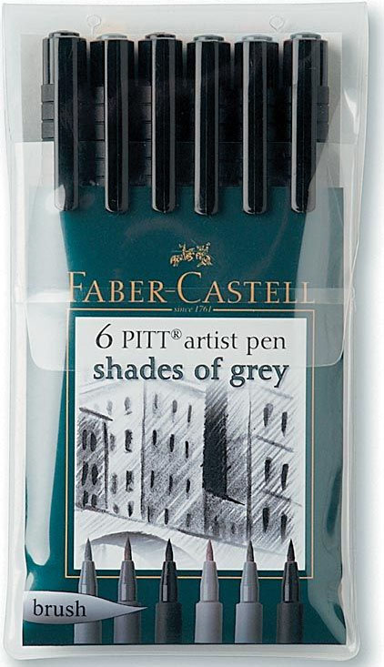 Faber-Castell Pitt Artist Brush Pen: 6 Grays
