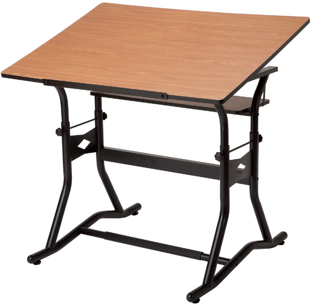 "Alvin CraftMaster III Drafting, Drawing, and Art Table: Cherry Woodgrain Top, Black Base, 30"" x 42"""
