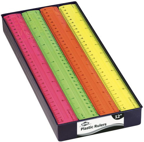 Alvin 12 Inches Fluorescent Plastic Ruler: Display of 48