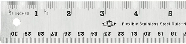 "Alvin® 24"" Flexible Stainless Steel Ruler: Metallic, Steel, 24"", General Purpose"