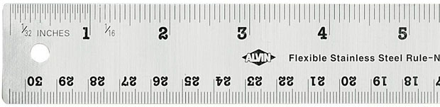 "Alvin® 18"" Flexible Stainless Steel Ruler: Metallic, Steel, 18"", General Purpose"