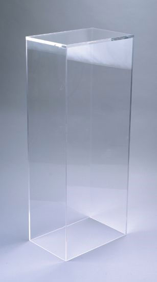 Xylem Clear Acrylic Pedestal: Table Top Size, 21 Inches Height