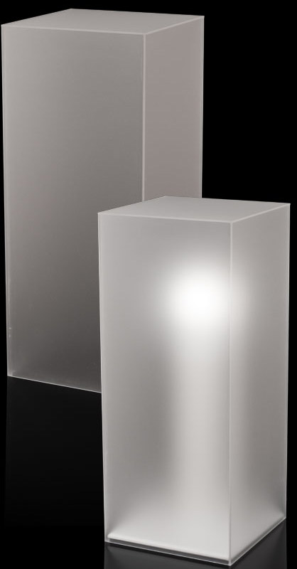 Xylem Frosted Acrylic Pedestal: Size 11-1/2 x 11-1/2 inches, Height 30 inches