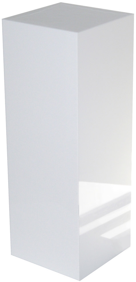 Xylem White Gloss Acrylic Pedestal: Size 11-1/2 x 11-1/2 inches, Height 12 inches