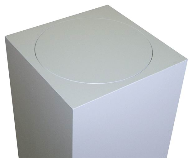 Xylem White Laminate Pedestal: Small & Tabletop Sized, 13 Inch Height