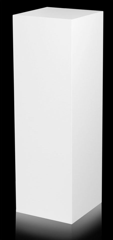 Xylem White Laminate Pedestal: Small & Tabletop Sized, 21 Inch Height