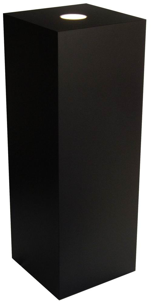 Xylem Black Laminate Spot Lighted Pedestal: 15 x 15 Inch Size, 12 Inch Height