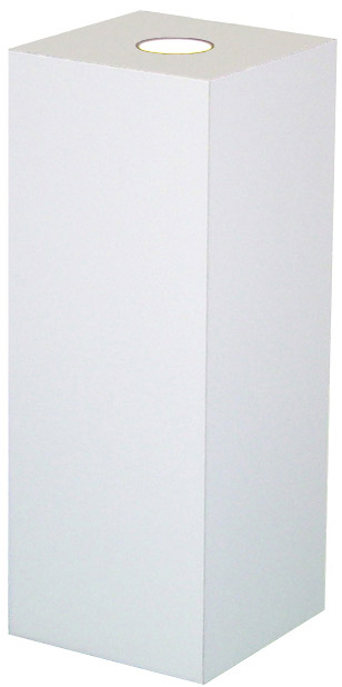 Xylem White Laminate Spot Lighted Pedestal: Size 23 x 23 inches, Height 12 inches