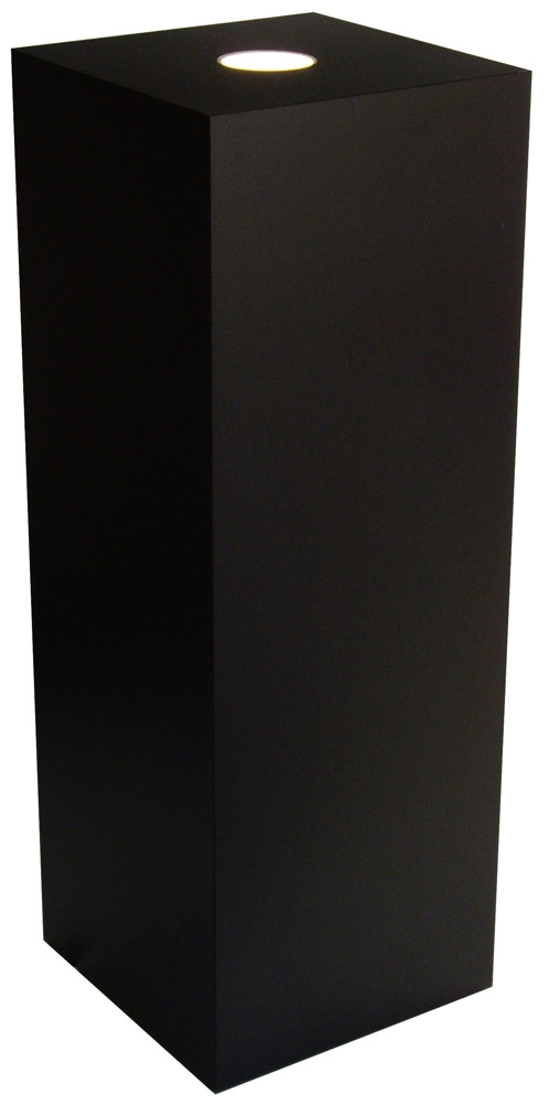 Xylem Black Laminate Spot Lighted Pedestal: Size 23 x 23 inches, Height 18 inches