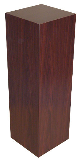Xylem Mahogany Stained Wood Veneer Pedestal: 15 X 15 Inches Size, 18 Inches Height