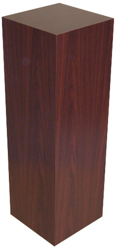 Xylem Mahogany Stained Wood Veneer Pedestal: Size 18 X 18 inches, Height 36 inches