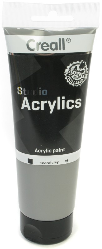 Creall Studio Acrylics Tube: 250 ml, 98 Neutral Grey