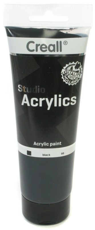Creall Studio Acrylics Tube: 250 ml, 99 Black