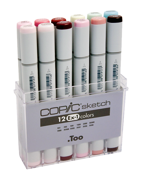 Copic® Sketch 12-Color Marker Set EX-1: Multi, Double-Ended, Alcohol-Based, Refillable, Broad Nib, Brush Nib