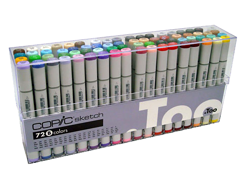 Copic® Sketch 72-Color Marker Set B: Multi, Double-Ended, Alcohol-Based, Refillable, Broad Nib, Brush Nib