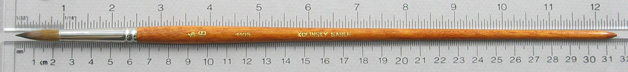 Kolinsky Sable 1105 Round # 18 Brush: Full Length Shot with Rulers