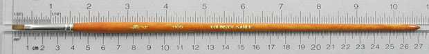 Kolinsky Sable 1105 Bright # 4 Brush: Full Length Shot with Rulers