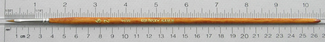 Kolinsky Sable 1105 Filbert # 2 Brush: Full Length Shot with Rulers