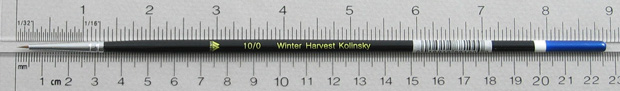 Winter Harvest Kolinsky Sable Long Hair Round # 10/0 Brush: Full Length Shot with Rulers