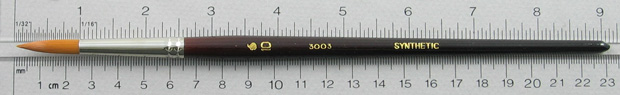 Synthetic Hair 3003 Round # 10 Brush: Full Length Shot with Rulers