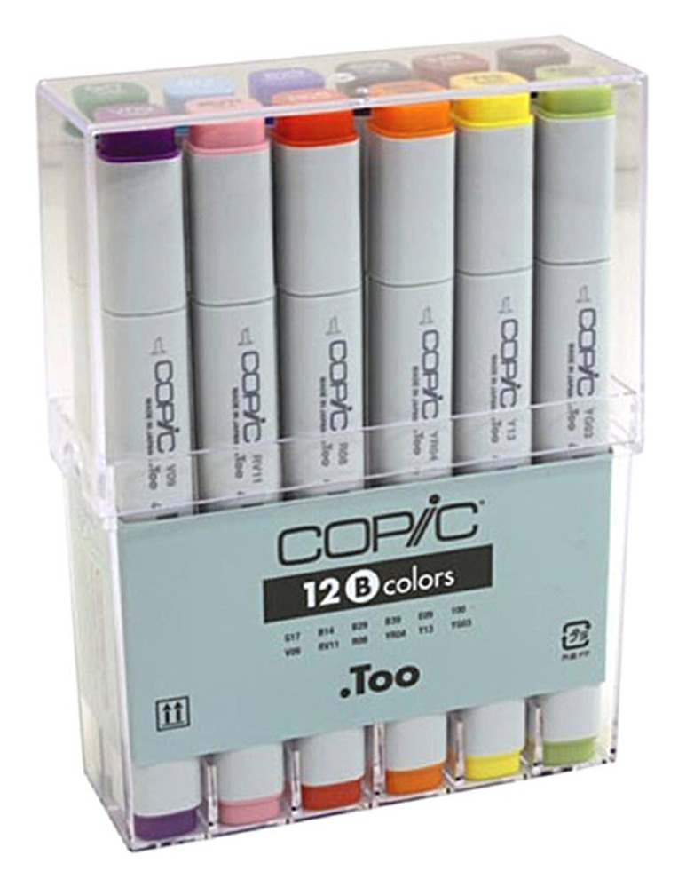 Copic® Original Set Copic® Original 12 Marker Set Basic: Multi, Double-Ended, Alcohol-Based, Refillable, Broad Nib, Fine Nib
