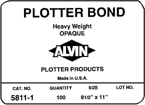 Alvin Heavyweight Opaque Plotter Bond 24 x 36inches 50 Sheet