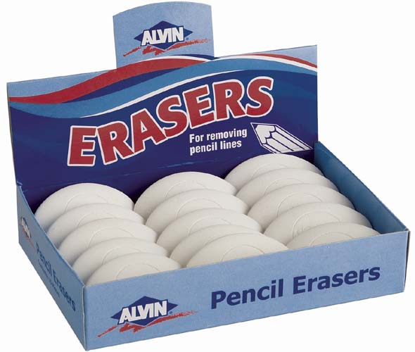 Alvin White Oval Pencil Erasers 15/Box