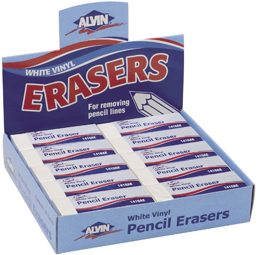 Alvin White Vinyl Pencil Erasers 20pc