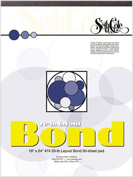 Alvin Seth Cole Layout Bond Paper 9 x 12inches 50Sheet Pad 20Lb.