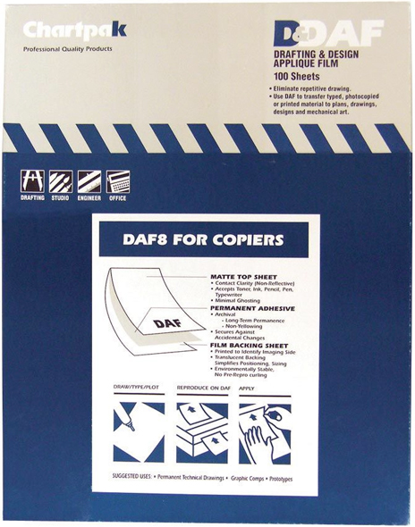 Alvin Chartpak® Drafting & Design Applique Film Daf 8.5 x 11inches 100 Sheet