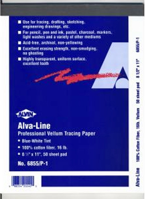 Alvin Alva-Line Vellum Tracing Paper With Title Block And Border - Blue-White Tint 22 x 34inches 100Pk