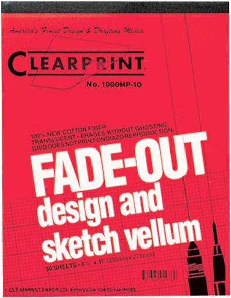 "Clearprint® 1000HP Series 8.5 x 11 Vellum Design and Sketch 50-Sheet Pad 10x10 Grid: Pad, 10"" x 10"", 50 Sheets, 8 1/2"" x 11"", 16 lb"
