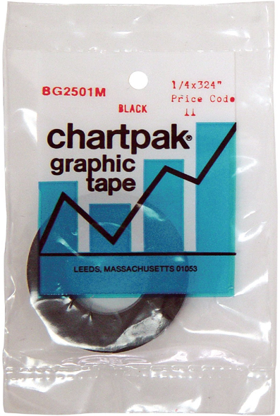 "Chartpak® 1/4 x 324 Graphic Tape Black Matte: Black/Gray, 1/4"" x 324"", Graphic Tape"