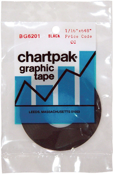 Chartpak 1/16 X 648 Graphic Tape Black Gloss