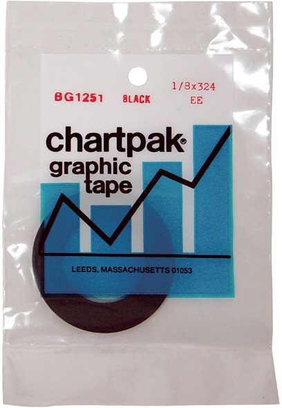 Chartpak 1/6 X 648 Graphic Tape Black Gloss