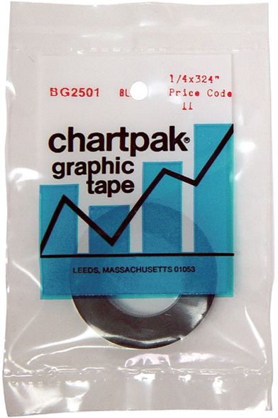 "Chartpak Graphic Tape: Black Gloss, 1/4"" x 324"""