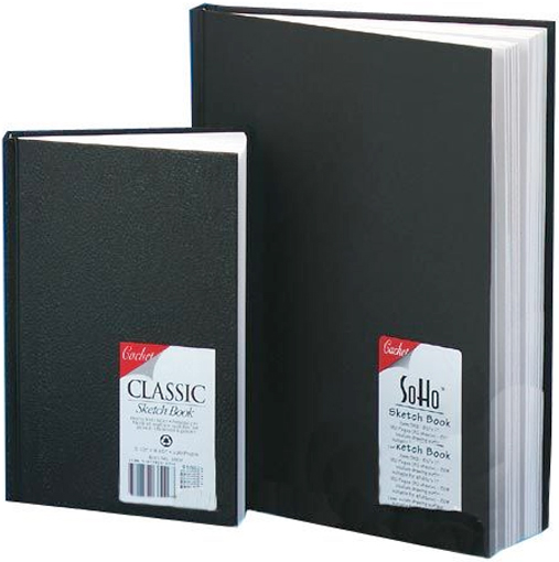 "Cachet® 8.5 x 11 Classic Black Sketch Book: Wire Bound, White/Ivory, Book, 110 Sheets, 8 1/2"" x 11"", 70 lb"