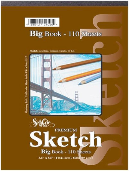 "Seth Cole 18"" x 24"" Premium Sketch Big Book: Fold Over, White/Ivory, Pad, 55 Sheets, 18"" x 24"", 60 lb"