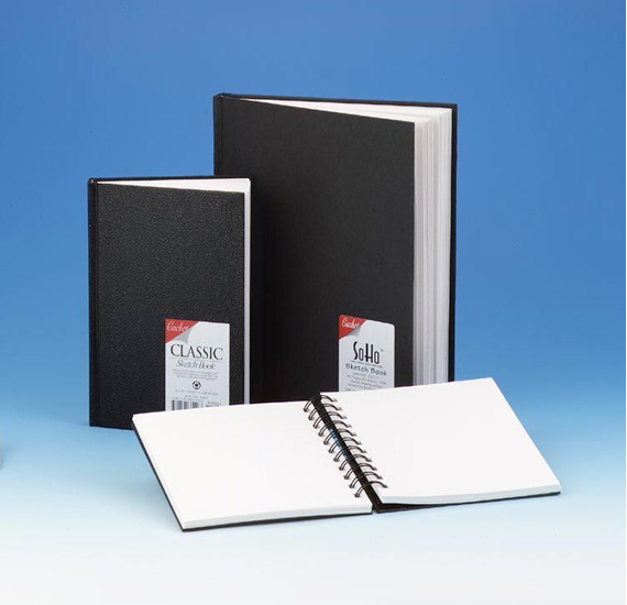 "Cachet® 5 x 7 Classic Black Wirebound Sketch Book: Wire Bound, White/Ivory, Book, 80 Sheets, 5"" x 7"", 70 lb"